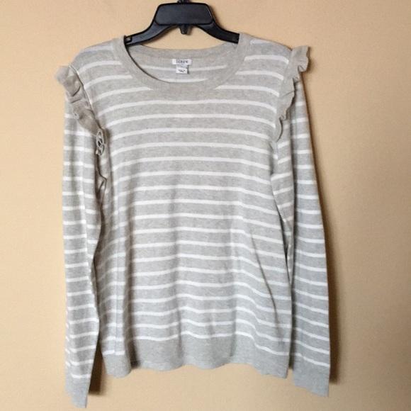eceb9a221cfec3 J. Crew Factory Sweaters | Jcrew Striped Ruffle Shoulder Sweater ...